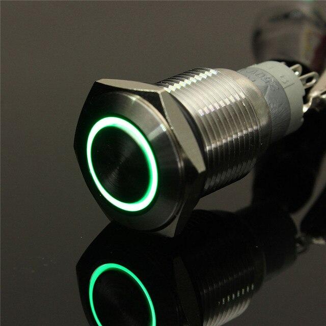 New Angel Eye Botão de Metal LED iluminado Momentary 16mm interruptor do Painel Do Carro 12 V Lâmpada Tipo Anel Luminated Verde Mais Popular
