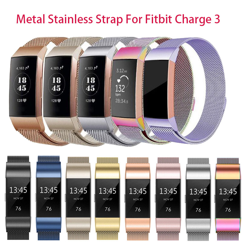 S/L Magnetic Metal Wrist Strap Band For Fitbit Charge 3 Wristband Milanese Stainless Steel Replace For Fitbit Charge3