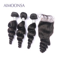 Brazilian Human Hair Bundles With Closure Loose Wave Lace Closure With 3 Bundles Natural Color Remy Hair Extensions