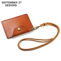 Vertical Style ID Badge Holder Leather Business Case Cowhide Card Holders Name Tag Id Card Lanyard
