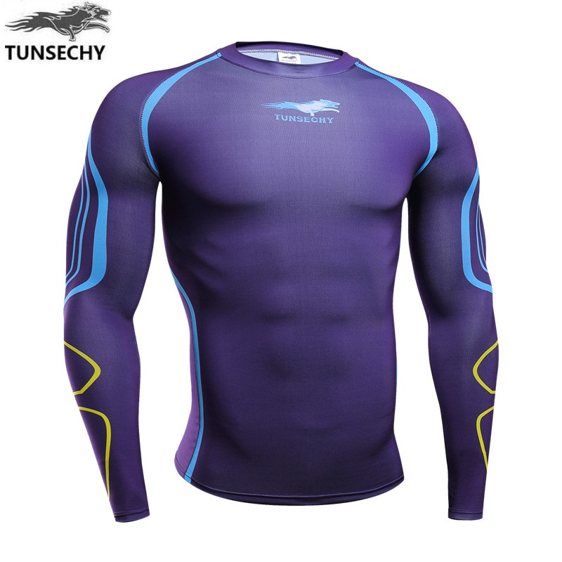TUNSECHY 2018 men's clothing fashion digital printing compressed Long sleeve T-shirt Wholesale and retail Free transportation