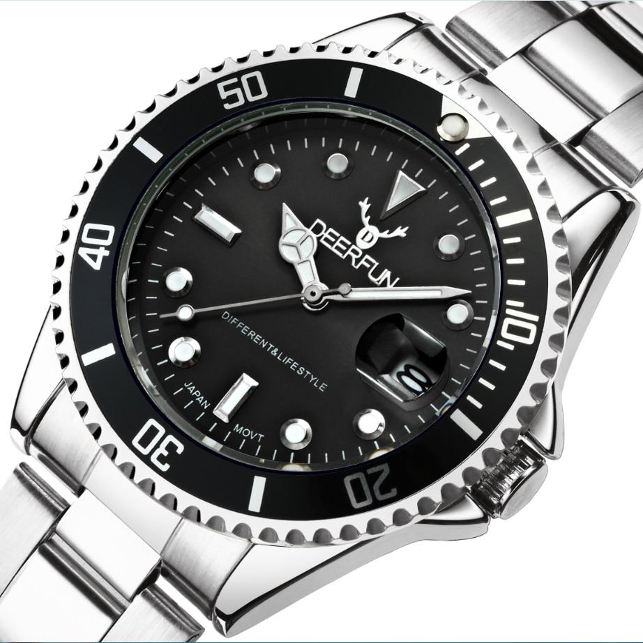 2018 New Deer Fun Watches Men Luxury Brand Military Watch Men Steel Band Wristwatches Sport