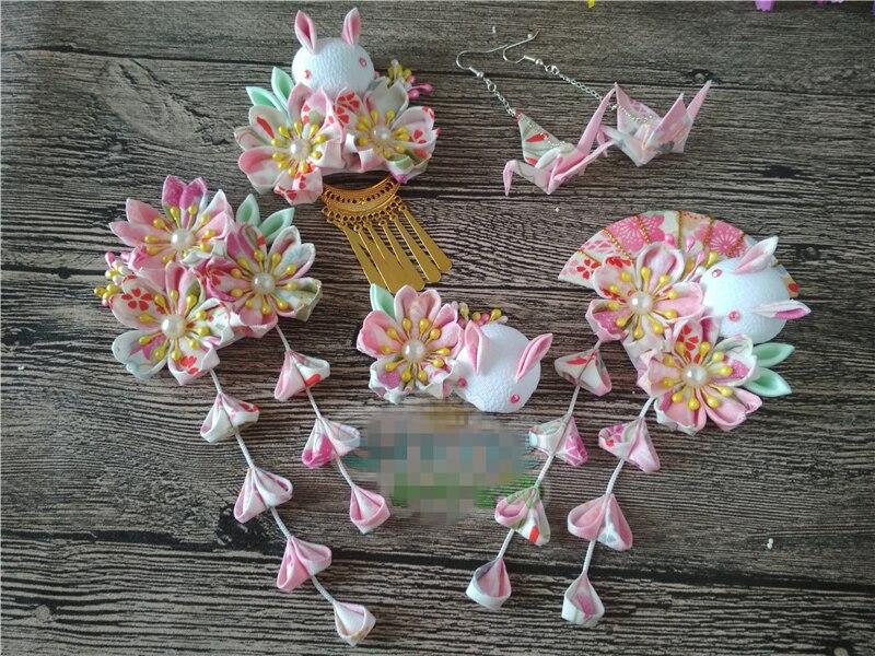 Japanese Style Kimono Costume Hairpin Lovely Sakura Flower Pink Rabbit Hair Accessories Headdress Elegant   Headwear