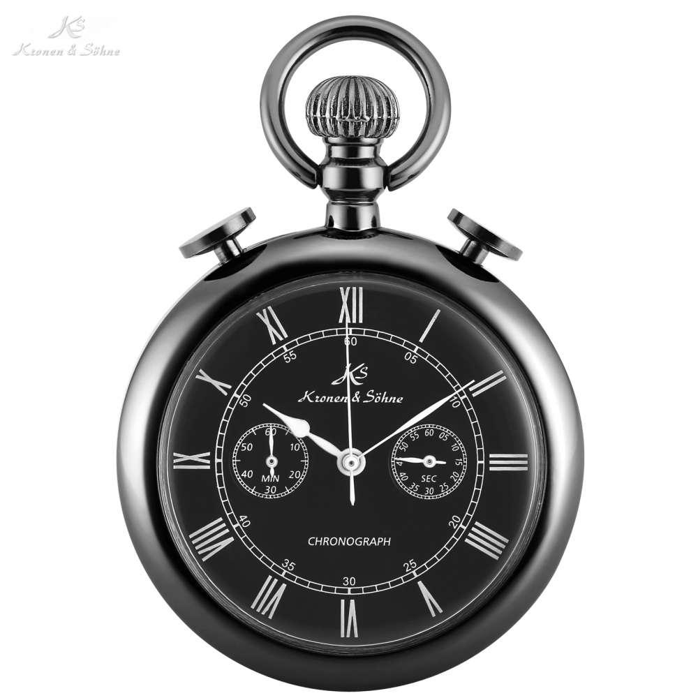 KS Antieke Romeinse Numeriek Hanger Reloj Hombre Chronograaf Black Quartz Pocket Horloges Vintage Collection Klok + Geschenkdoos/KSP093