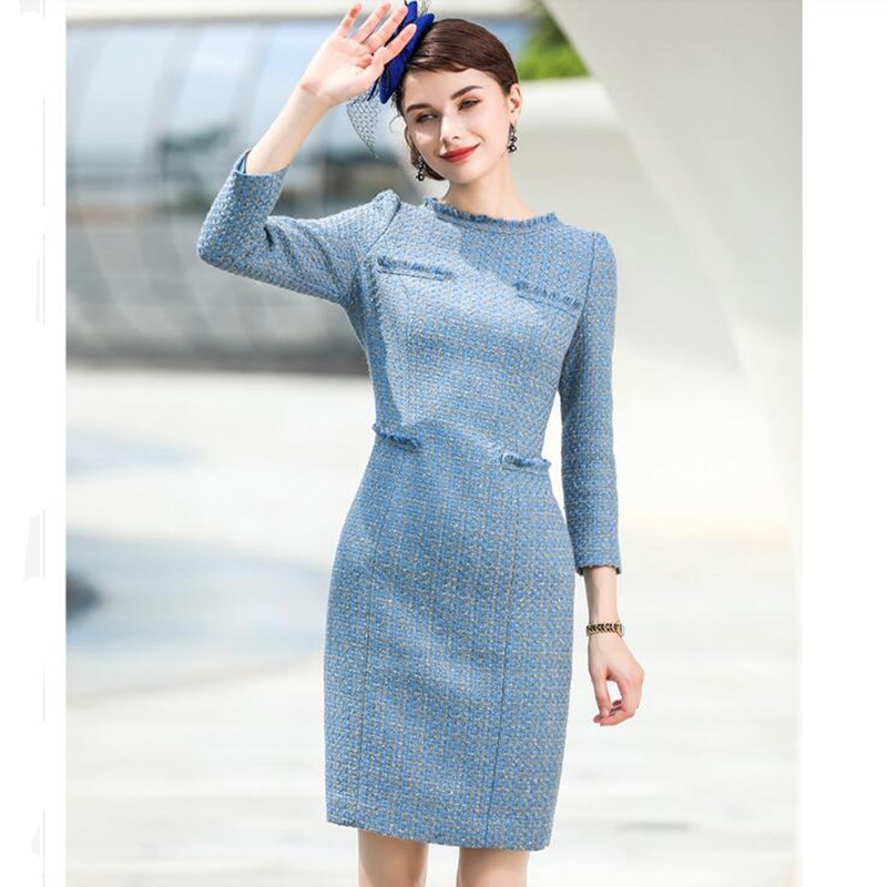 2019 Elegant Spring Autumn Winter Women Dress Suit Tweed Business Wear Formal Work Office Lady Clothing Vintage Pencil Dress
