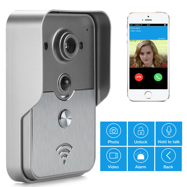 Mobile VDP WiFi Wireless Video Door Phone Intercom Doorbell Peephole Camera  Night Vision Alarm Android IOS