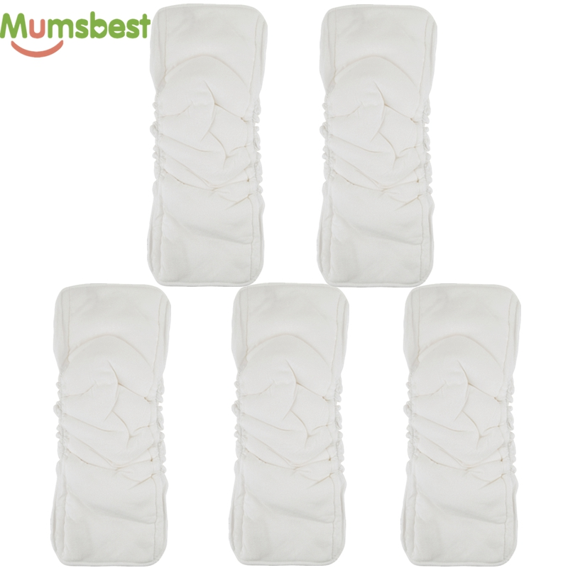 [Mumsbest] Bamboo Cotton 5 Layers Insert For Baby Cloth Nappy Changing Liners Reusable Cloth Diaper Inserts Nappies Mat 5 PCS