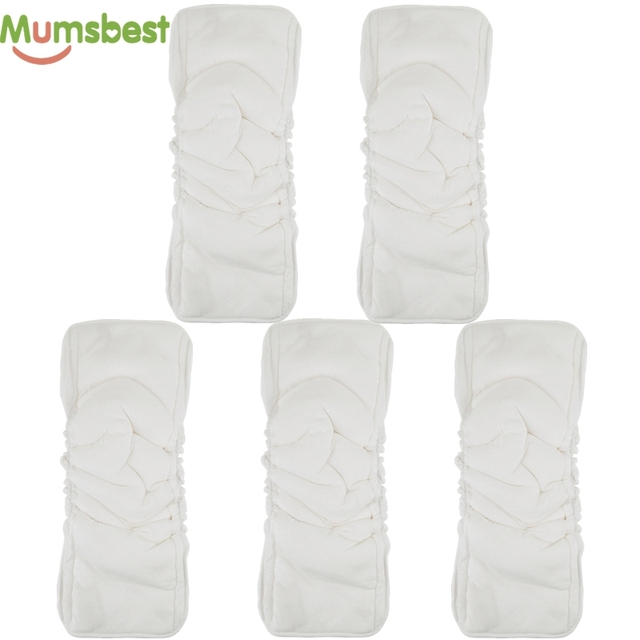 [Mumsbest] Bamboo Cotton 5 Layers Insert For Baby Cloth Nappy Changing Liners Reusable Cloth Diaper Inserts Nappies Mat 5 PCS | Happy Baby Mama