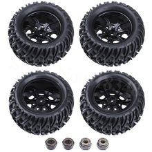 4Pcs/Lot 125mm RC Tires & Nylon Wheel Rims Foam Inserts For 1/10 Monster Truck Tyres HSP HPI Traxxas Himoto Redcat Kyosho Tamiya(China)