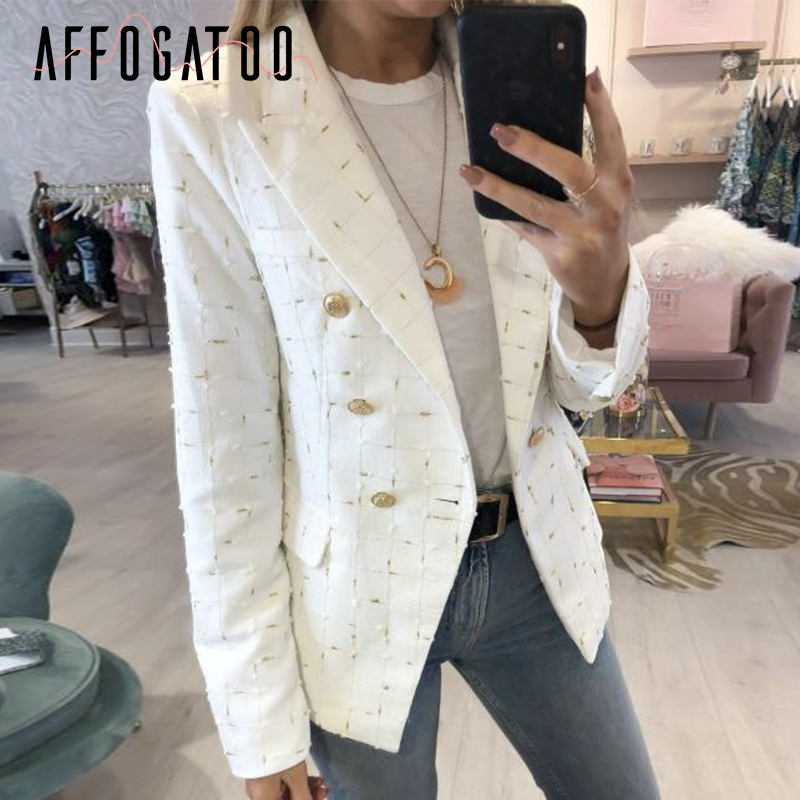Affogatoo Casual Double Breasted Office Ladies Plaid White Blazer Women Vintage Chic Autumn Lattice Outerwear Blazer Coat Female