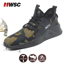 MWSC Man Safety Shoes Summer Cammouflage Work Shoes for Man Lightweight Breathable anti-smashing piercing Steel Toe Cap Sneaker цены