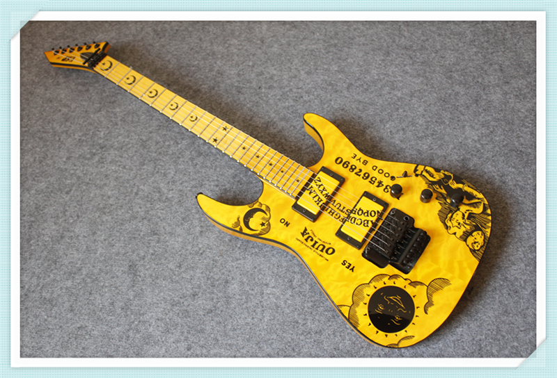 Custom Shop Yellow Kirk Hammett Signature ESP Electric Guitar with Black Hardware Custom Available chinese glossy black g6128t gh george harrison signature duo jet electric guitar with bigsby for sale