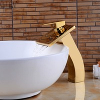 Bathroom Vessel Faucets Gold Waterfall Bath Sink Water Mixer Golden Basin Faucet Hot and Cold Deck Mounted ELS1501G