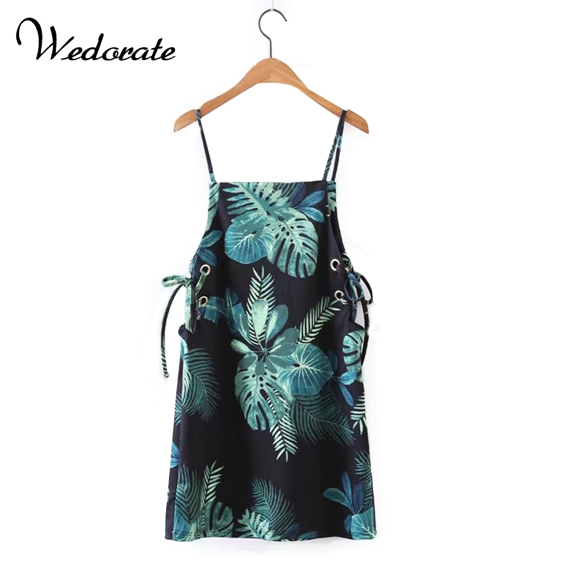 Buy Cheap Wedorate Summer Style Women's Dresses Tropical Flower Print Mini Beach Dress for Women Sexy Spaghetti Strapped Dress RA5388
