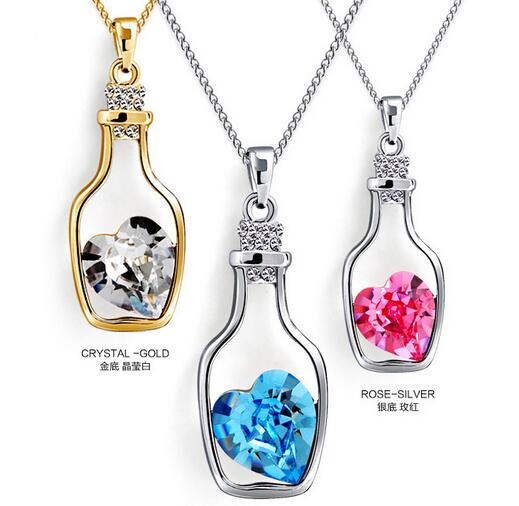 100pcs/lot free shipping  Drift Bottle Necklace Jewelry Crystal Heart Pendant Necklace Women sweater  Necklace 3colors