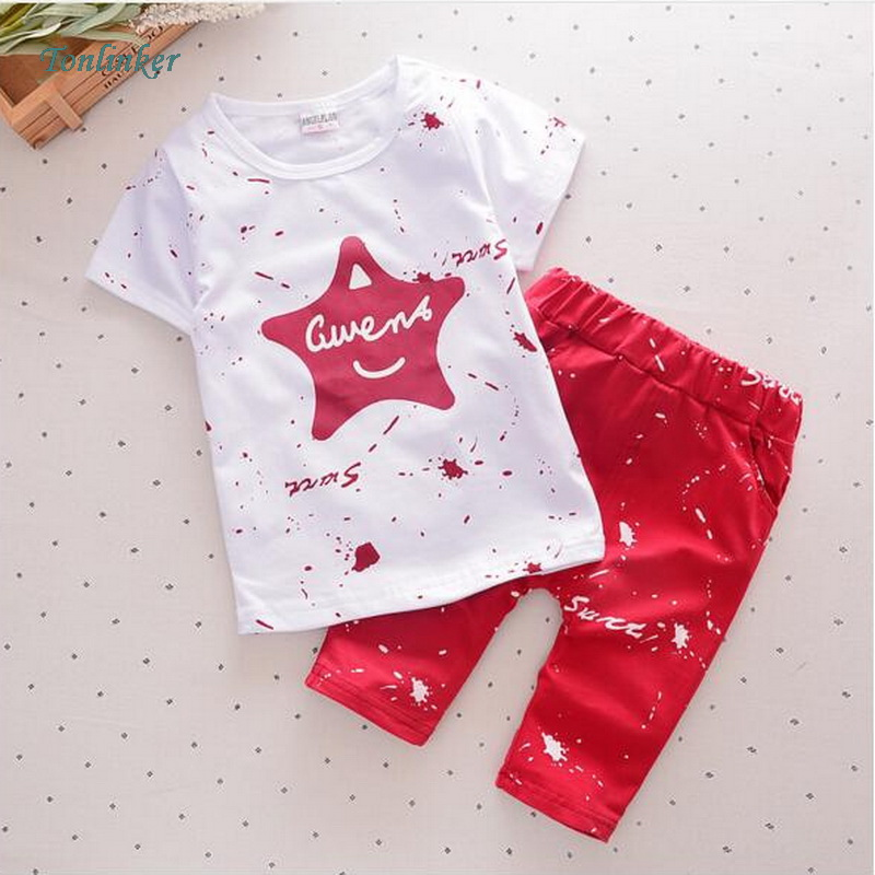 Tonlinker Summer Chidren Boy Clothes Star Printed Kids Cotton Shorts Pajamas set Child Casual Sport Suits