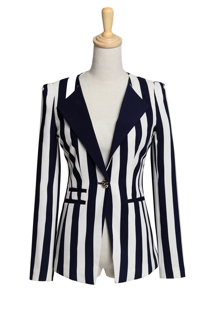 Formal Dress Suits for Women Work Wear Suits Blue & White Vertical ...