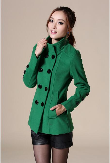 Para 2015 mujer lana de rojo verde largo de abrigo medio cruzado SSPwgq5xr