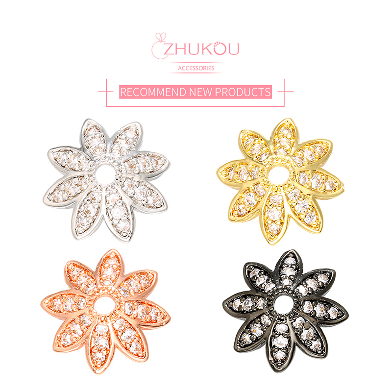 ZHUKOU 4x11mm Crystal Bead Cap For Jewelry Making Findings Diy Necklace Bracelet Accessories Wholesale Model:VH10