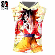 OGKB Fashion Men's Hooded Tank Top Funny Print Super Saiyan 4 3d Singlets With Hat Man Hiphop Sleeveless Tracksuits Sweats 7xl(China)