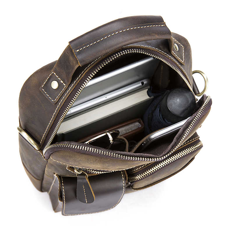 34a14c13c5b8 ... MVA Винтаж Crazy Horse Натуральная кожа Сумка топ-ручка Сумочка сумка  для документов через плечо