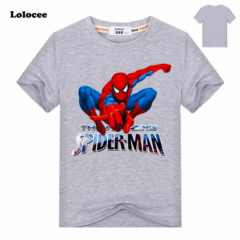 Boys Super hero Marvel Spiderman t shirt spider man Cotton Tee Top Kids Batman Short Sleeves Cool Party shirt Gray T shirts цены онлайн