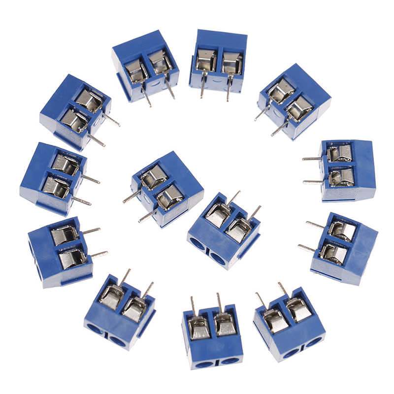 20 unids/lote, conectores de paso de 5,08mm, bloques de terminales de conector de 2 pines, de Bloque de terminales de tornillo