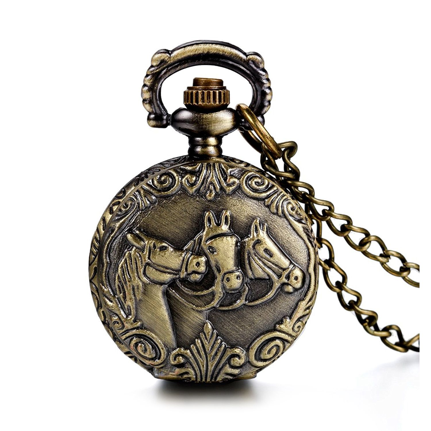 Practical Antique Horses Locket Pocket Watch Quartz White Dial Arabic Numerals Full Hunter Sweater Necklace