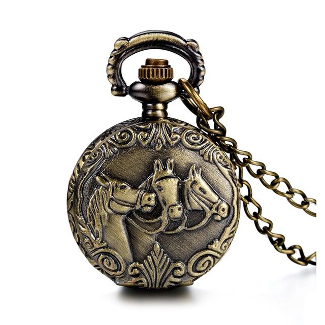 Practical Antique Horses Locket Pocket Watch Quartz White Dial Arabic Numerals F