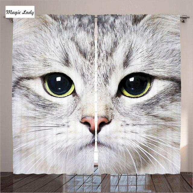 Gordijnen Grey Kat Dier Decor Collectie Mooie Pet Ontwerp Kitten ...
