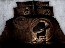 3D современный ковбойской шляпе сапоги печати постельных принадлежностей утешитель пододеяльник постельное белье твин полный queen king cal king size кровать мальчика номер