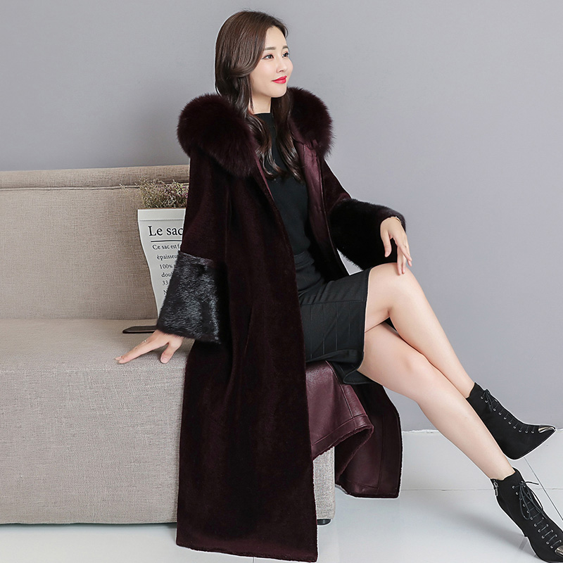 HANZANGL Sheep Sheared Coat Female 2019 Winter New Fox Fur Collar Hooded Over The Knee Haining Water Mink Fur Coat Outwear M-4XL