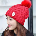2017 Newset Fashion Women's Winter Knitted Fur Beanie Hats With Fur Pompoms Caps Ear Protect with Inner Velvet Causal Hats