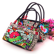 Double-Sided Canvas Flower Print Embroidery Ethnic Type Retro Purse Small Bag