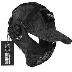 TAK YIYING Kamuflase Taktis Lipat Mesh Masker Dengan Perlindungan Telinga Dengan Cap Untuk Berburu