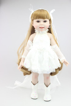 Brown long  curly hair AMERICAN PRINCESS 18'' GIRL Dolls white dress fashion kids playmate  Baby doll reborn for girls toys