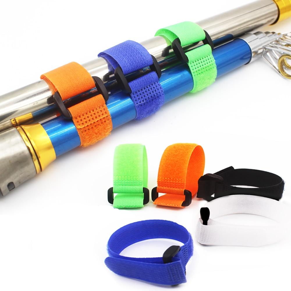 5 Pcs  Reusable Fishing Rod Tie Holder Strap Suspenders Fastener Hook Loop Cable Cord Ties Belt Fishing Tackle Box Accessories