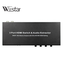 3 In 1 Out HDMI Audio Extractor Splitter 4K ARC HDMI Switch Box Selector with Optical SPDIF & L/R Audio Out for Display,PC steyr hdmi 1 4 switch switcher box selector 3 in 1 out hdmi audio extractor splitter with optical spdif audio remote control