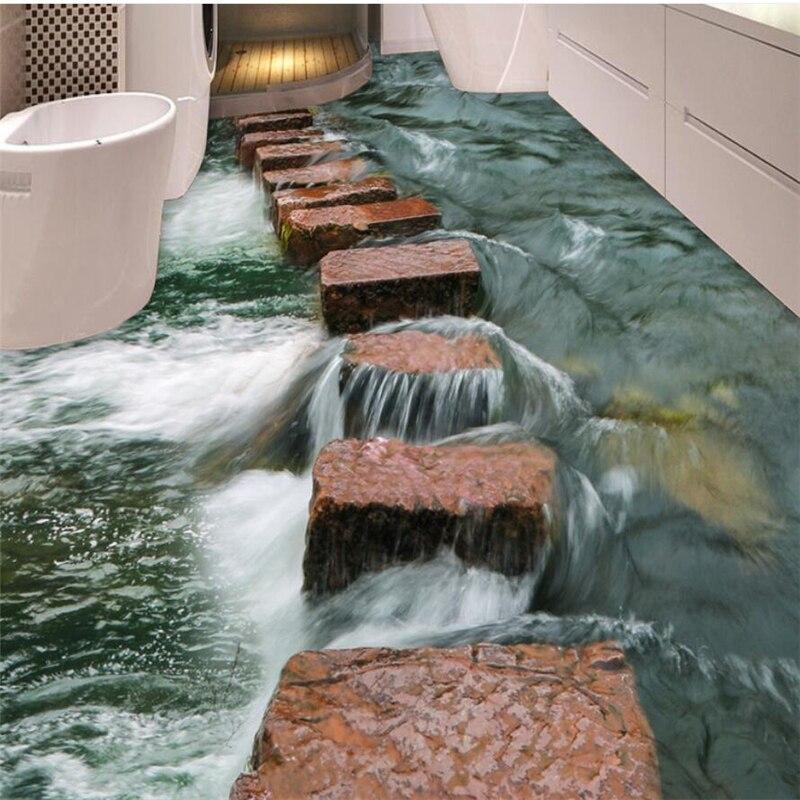 US $16.8 44% OFF|Benutzerdefinierte Klar Fluss Schiefer Trail Badezimmer  Schlafzimmer 3D Boden Wasserdicht Anti slip selbstklebend Dekorative 3d  Boden ...
