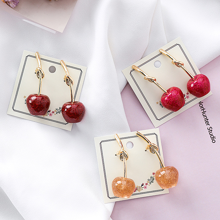 Sweet Cherry Cherry Drops  Round Dangle Earrings