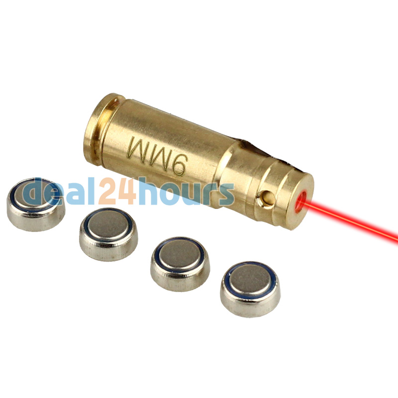 Tactical 9mm Brass Red Laser Dot Boresighter Bore Sight Sighter Caliber Cartridge Boresight for Handguns Rifle Hunting Shooting