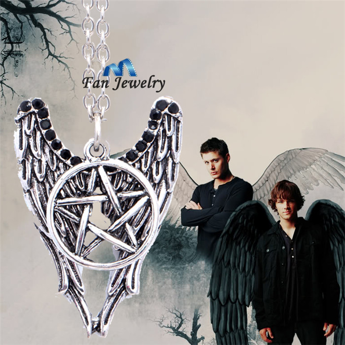 Supernatural Guardian Angel Cass Sam Dean wings with protect symbols necklace XL427