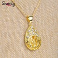 Oval joyería colgante collar allah Islámica artículos de joyería 24 K chapado en oro oriente medio árabe musulmanes adoran Hipoalergénico