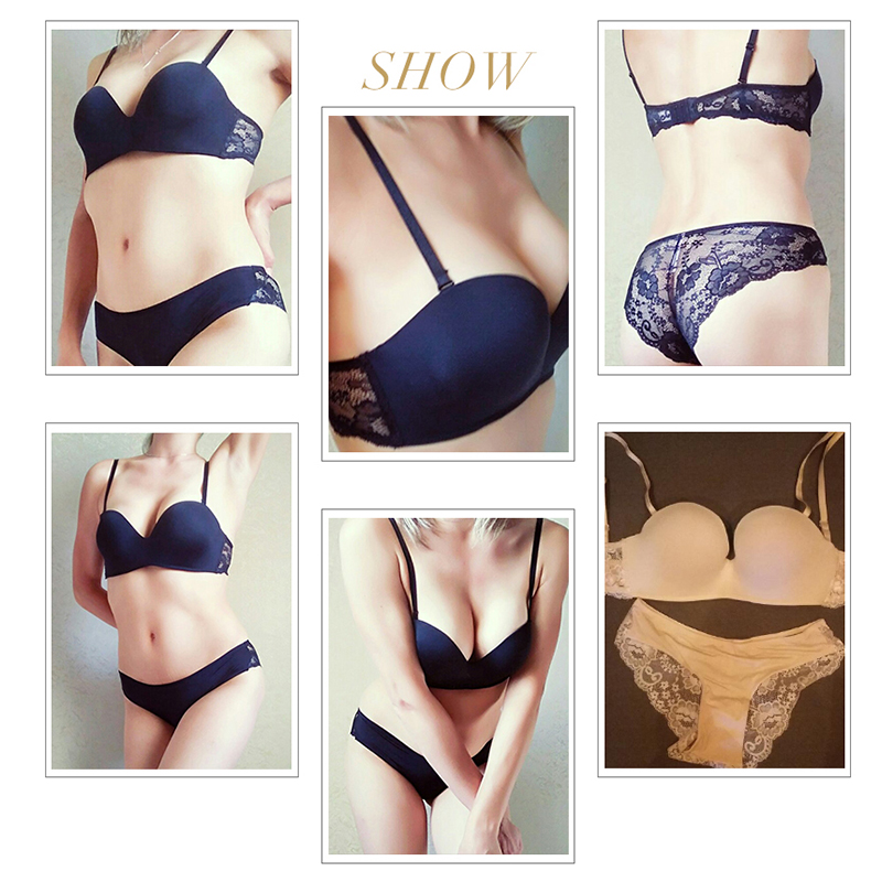 7942c92cbe Kang Bowie Chic Women s Demi Bra Panties Sets Linen Pushapp Bras Kit Black  Ladies Lingerie Underwear A B C Cup Set Soutien Gorge-in Bra   Brief Sets  from ...