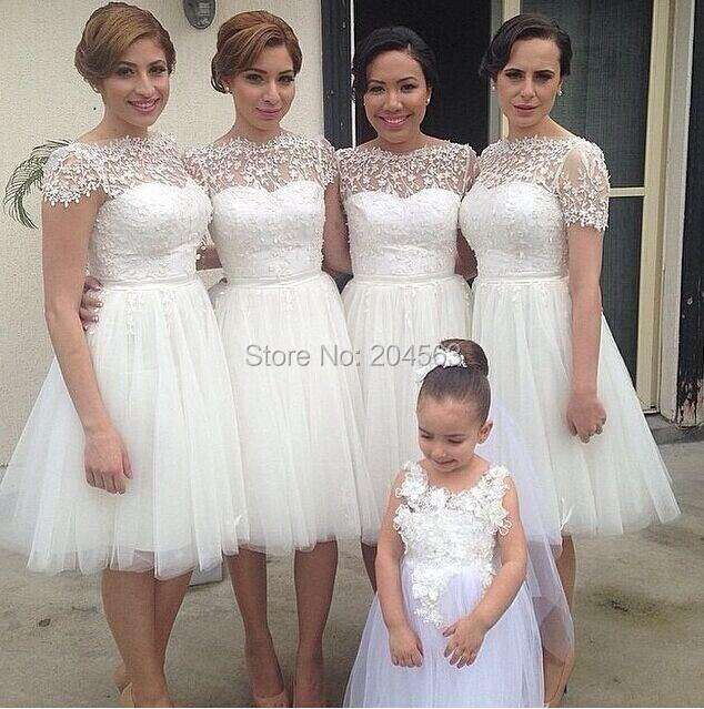 e888998f6ead Free Shipping 2015 Stunning Romantic White Tulle Skirt Convertible  Bridesmaid Dress Cap Sleeves Lace Knee Length