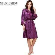 8bfdbb9840 Top Quality New Purple Chiese Women Silk Chiffon Robe Sexy Kimono Bath Gown  Sleepwear Nightgown Casual