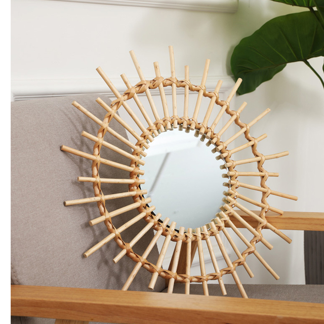 Compact Wall Hanging Mirror Clear Round Space Saving Rattan Dressing Mirror Portable Interior Gifts Art Decor Living Room Home 2
