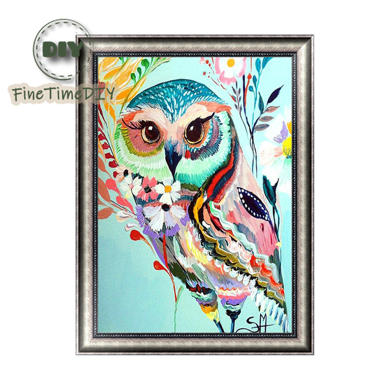 FineTime Colorful Owl 5D DIY Diamond Painting Partial Drill Diamond Embroidery Cross Stitch Animal Mosaic Painting in Diamond Painting Cross Stitch from Home Garden