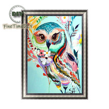 FineTime Colorful Owl 5D DIY Diamond Painting Partial Drill Diamond Embroidery Cross Stitch Animal Mosaic Painting finetime owl 5d diy diamond painting partial round drill diamond embroidery animal cross stitch