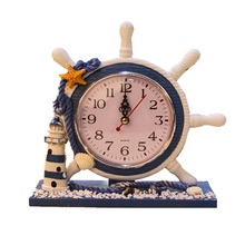 New Mediterranean ornaments living room clock creative wooden crafts navigational style and props